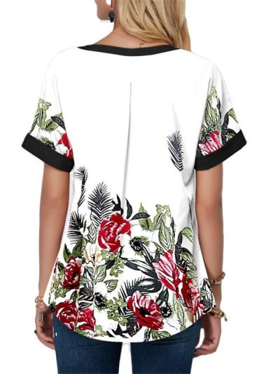 Ethnic Style Notched V Neck Floral Printed Short Sleeve Pullover T-Shirt
