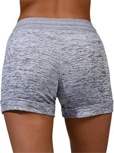 Casual Style Cotton Plaid Heart Printed Heathered Waist Tie Shorts
