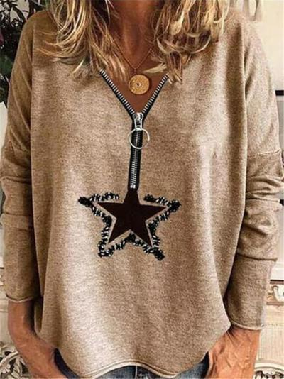 Loose Fit Front Half Zipper Star Printed Long Sleeve Pullover Tops