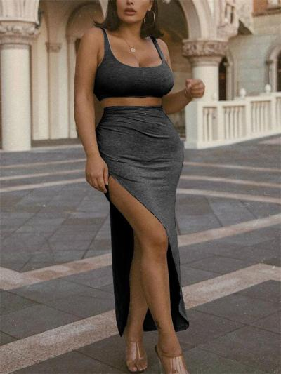 Sexy Fashion 2 Piece Scoop Neck Cropped Tank Top + High Slit Ruched Skirt