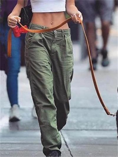Women Casual Mid Waist Baggy Cargo Pants