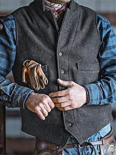 Men's Gray Lapel Button Up Front Pocket Vest