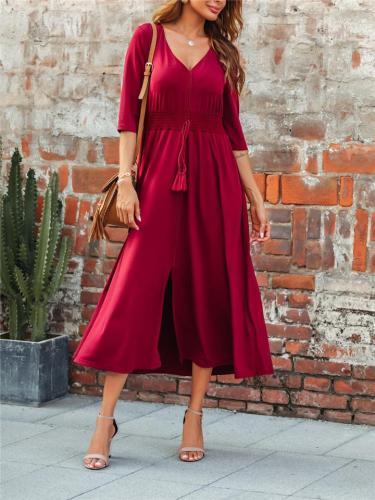 Flowy V Neck Solid Color Front Slit Drawstring Maxi Dress