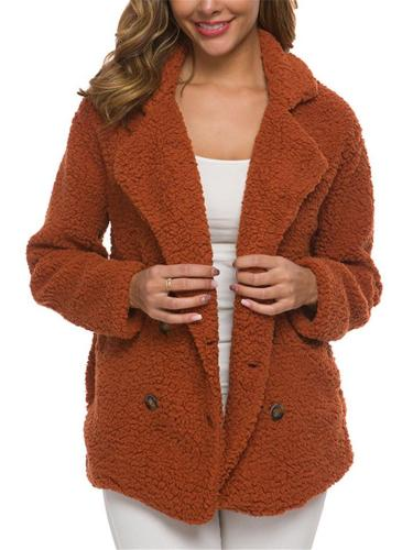 Women's Fashion Warm Fluffy Cardigan Buttoned Coat