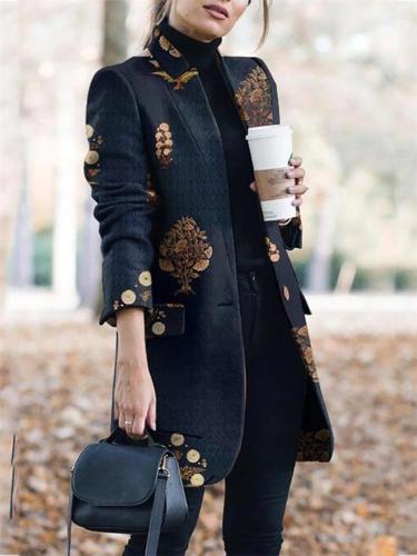 Autumn Women PrintingLong Sleeve Intellectual Commuter Coat