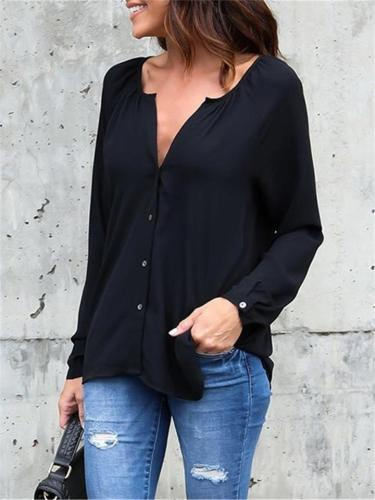 Comfortable Front Button Solid Color Chiffon Blouse