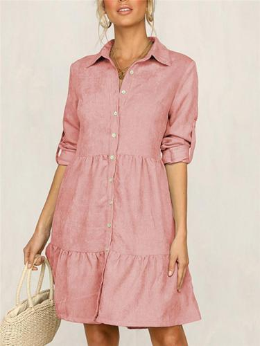 Solid Color Half Sleeve Shirt Casual Dress