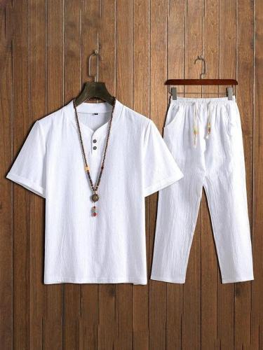 Men's Comfy Cotton Linen Sets Short-sleeved T-shirt + Trousers
