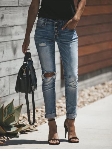 Fashion Broken Hole Four Button Jeans