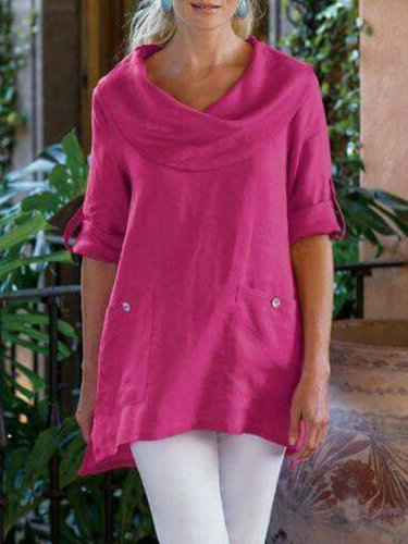 Women's Cowl Neck Cotton-Blend Shirt