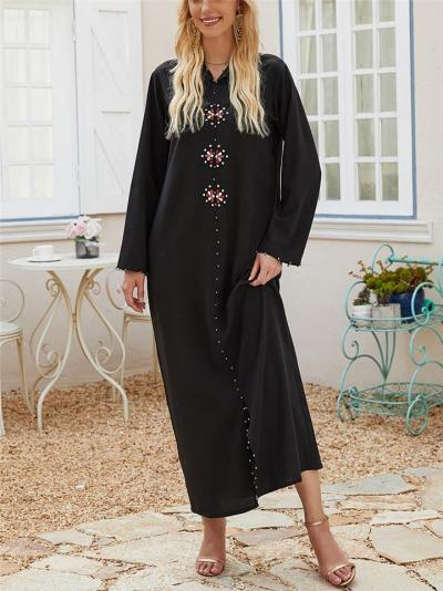 Ethnic Style Front Slit Rhinestone Deco Hooded Ankle Length Shift Dress
