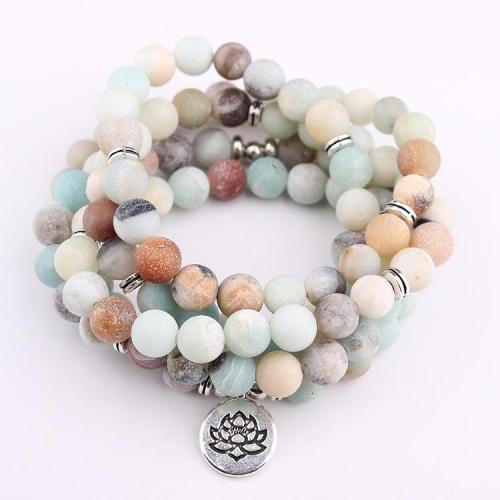 Fashion Women's Beads Bracelet With Lotus Buddha Charm