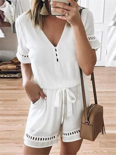 Relaxed Fit V Neck Cutout Design Short Sleeve Drawstring Pocket Jumpsuits