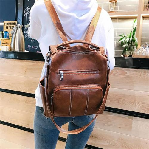 Versatile Zipper Multi Pocket Crossbody Strap Handle Backpack