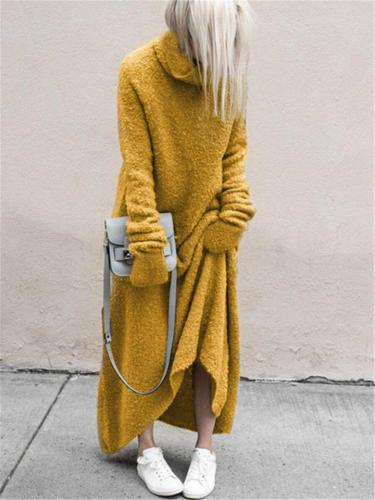 Ultra Comfortable High Neck Solid Color Long Sweater