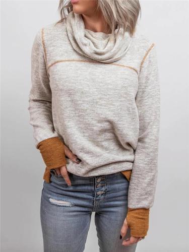 Regular Fit Cowl Neck Long Sleeve Thumbhole Cuff Pullover Sweatshirt