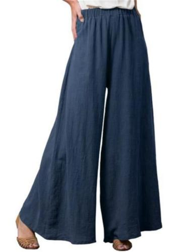 Casual Style Elastic Waistband Solid Color Cotton Wide Leg Pants