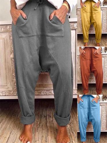Wide Fit Front Pocket Solid Color Harem Pants