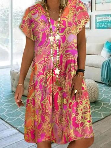 Stylish V Neck Floral Printed Short Sleeve Pullover Midi Dress