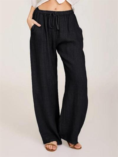Casual Style Drawstring Waistband Cotton Linen Wide Leg Pocket Pants
