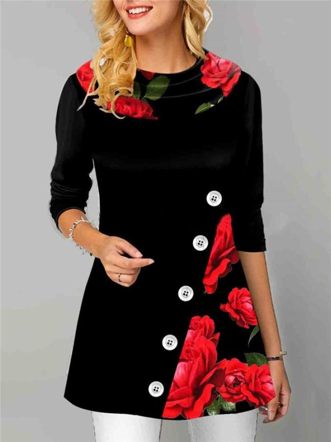 Relaxed Fit Cowl Neck Long Sleeve Button Floral Printed Pullover Midi Tops