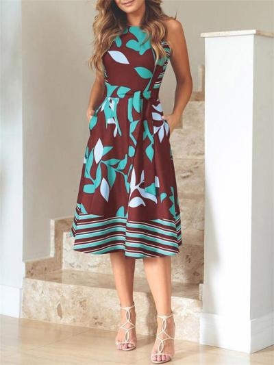 Trendy Round Neck Leaf Printed Sleeveless Waist Tie Pocket Midi Dress
