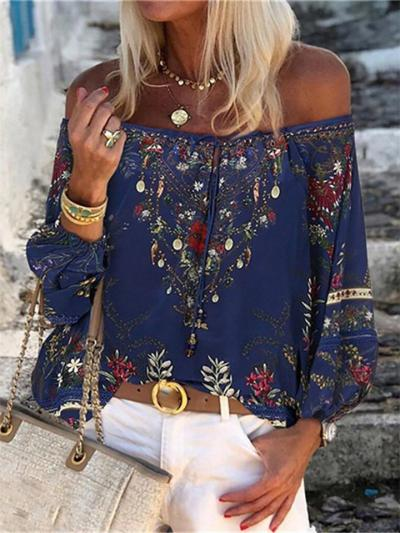 Loose Fit Off Shoulder Tie Up Floral Long Balloon Sleeve Pullover Tops