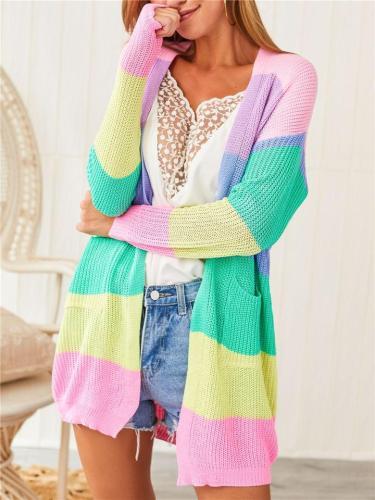 Womens Patchwork Long Sleeve Rainbow Stripe Cardigan Tops Sweater Coat