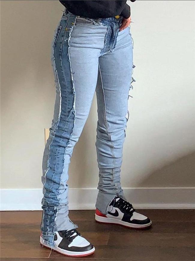 Stylish Zipper Button Frayed Design High-Rise Skinny Jeans
