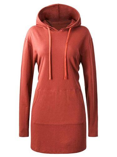 Regular Fit Front Pocket Solid Color Drawstring Hooded Midi Sweatshirt