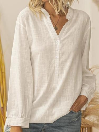 Minimalist Solid Color V Neck Button Long Sleeve Pullover Tops