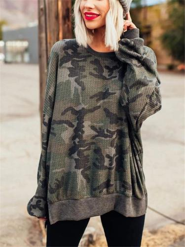 Loose Fit Round Neck Camouflage Side Slit Long Sleeve Tops