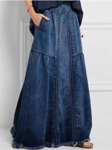 Frayed Hem Elastic Waistband Pocket Long Denim Skirt