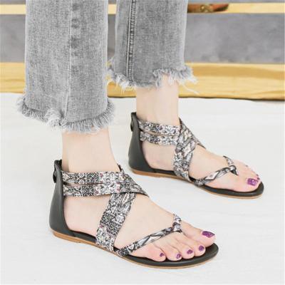 Bohemian Style Flip Flops Back Zipper Flat Heel Sandals