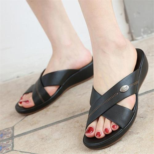 Comfy Open-Toe Lightweight Soft Footbed Wedge Heel Slippers