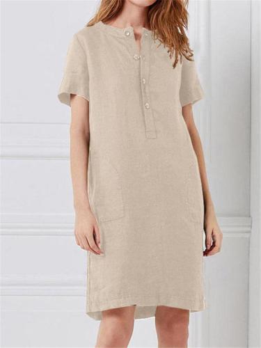 Solid Color Loose Short Sleeved Dress