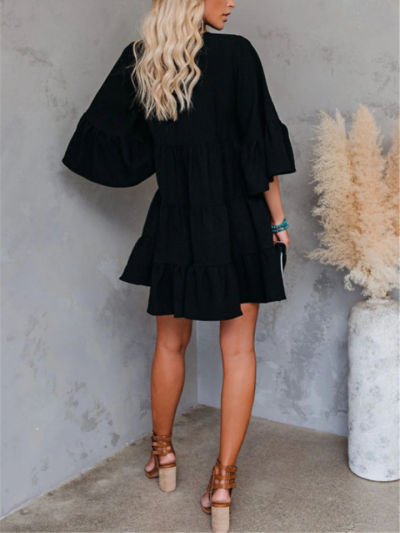 Loose Fit V Neck Bell Half Sleeve Pleated Ruffled Pullover Flare Dress