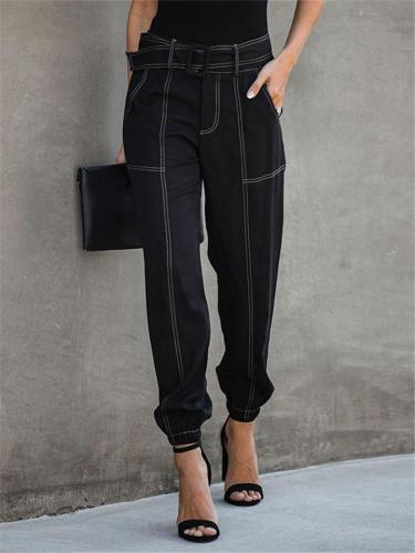 Trendy Belted Ankle Tie Black Trousers