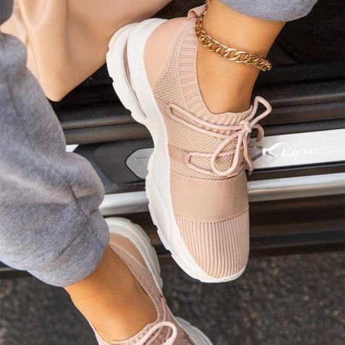 Breathable Non-Slip Rocker Bottom Lace-Up Thick-Sole Canvas Sneakers