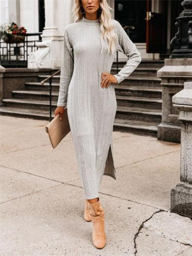 Relaxed Fit High Neck Long Sleeve Side Slit Sweater Maxi Dress