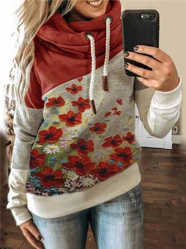 Comfortable Floral Printed Long Sleeve Drawstring Hooded Sweatshirt