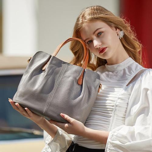 Fashion Soft Cowhide Handbag with Adjustable Shoulder Strap