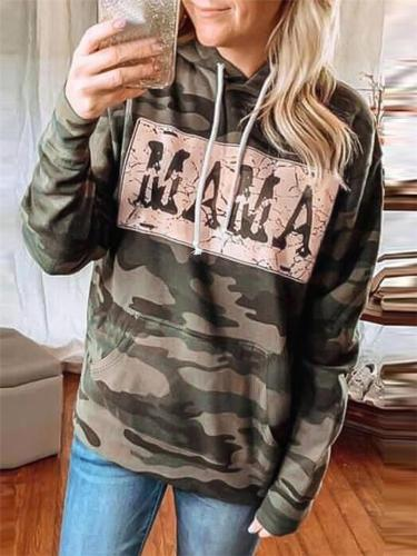 Relaxed Fit Front Pocket Camouflage Drawstring Hooded Tops