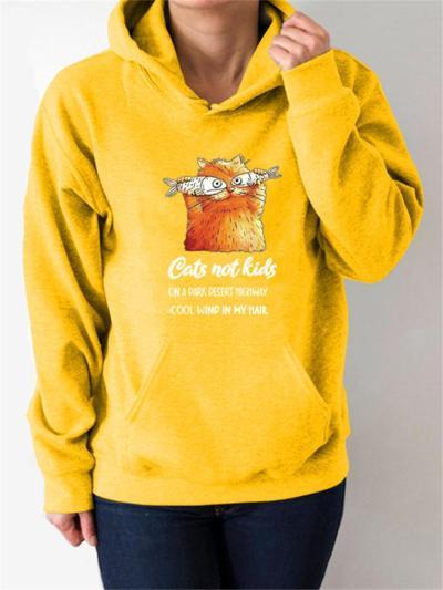 Relaxed Fit Cat Printed Kangaroo Pocket Drawstring Hooded Sweatshirt