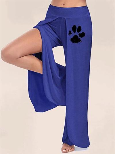 Women's Casual Side Slit Printed Wide-Leg Yoga Pants