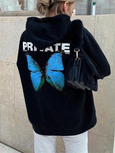 Ultra Cozy Butterfly Printed Fleece Hooded Pullover Sweatshirt