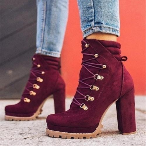 Trendy Suede Platform Chunky High Heel Lace-Up Ankle Boots