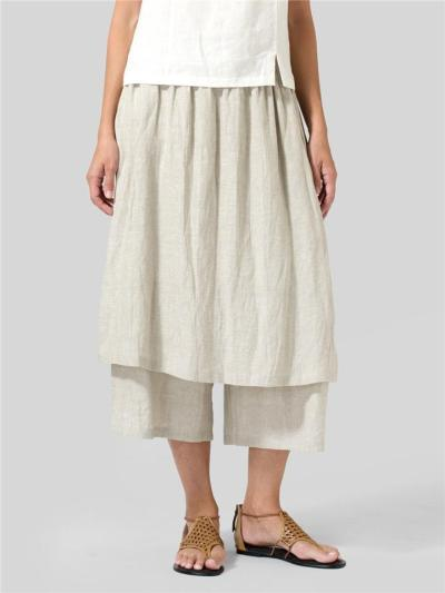 Minimalist Style Wide-Leg Linen Two-Layer Culottes