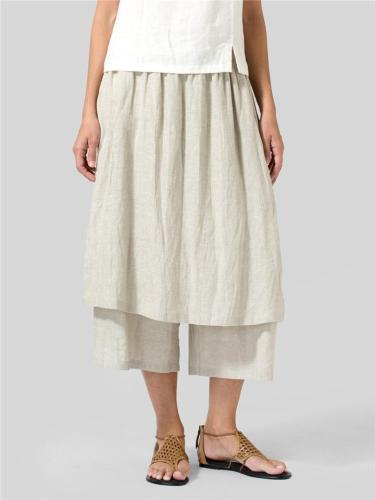 Minimalist Style Wide-Leg Linen Two-Layer Culottes