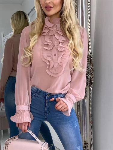 Billowing Front Ruffled Turtleneck Solid Color Pullover T-Shirts